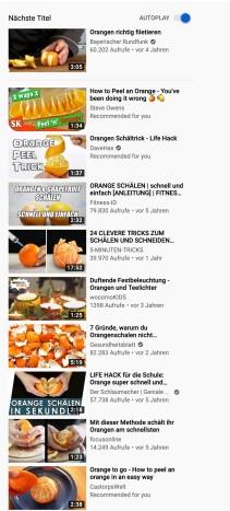 Orangen schälen